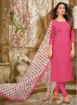 Glitzy Pink Printed Chanderi Cotton Churidar Designer Suit