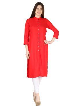 Glitzy Red Fancy Party Wear Kurti