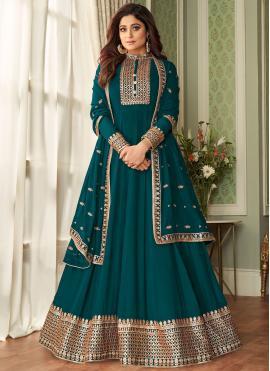 Glitzy Shamita Shetty Green Faux Georgette Floor Length Designer Suit