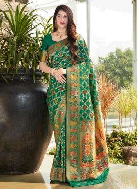 Glitzy Silk Green Traditional Saree