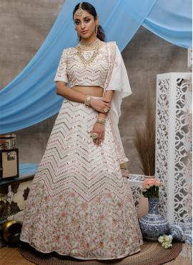 Glitzy Thread Georgette Off White Bollywood Lehenga Choli