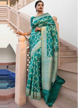 Glitzy Weaving Tussar Silk Green Designer Saree