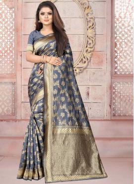 Glorious Art Silk Grey Casual Saree