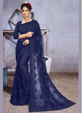 Glorious Embroidered Net Blue Traditional Designer Saree