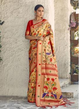 Glorious Handloom silk Multi Colour Traditional Saree