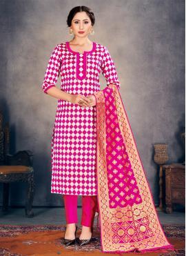Glorious Hot Pink Banarasi Silk Pant Style Suit