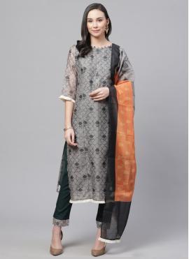 Glossy Chanderi Digital Print Pant Style Suit