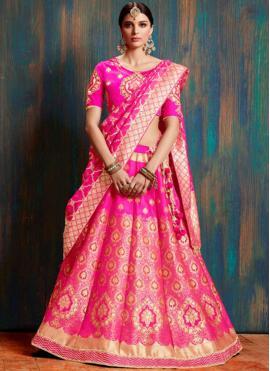Glossy Embroidered Banarasi Silk Lehenga Choli