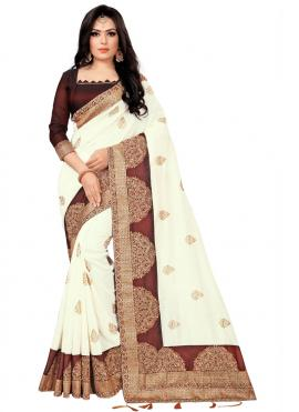 Glossy Embroidered Classic Saree