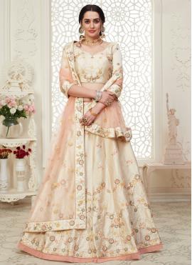 Glossy Embroidered Silk A Line Lehenga Choli