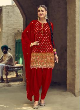 Glossy Faux Georgette Red Patiala Suit