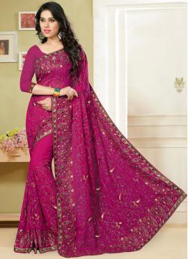 Glossy Georgette Resham Rani Classic Saree