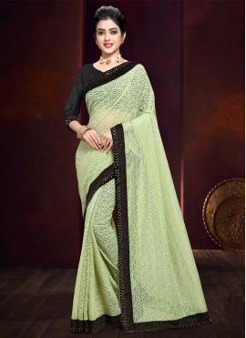 Glossy Green Net Bollywood Saree
