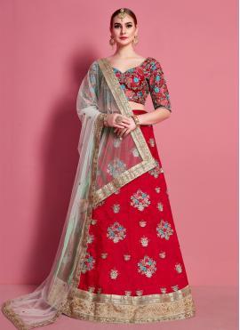 Glossy Lace Art Silk A Line Lehenga Choli
