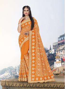 Glossy Mustard Vichitra Silk Trendy Saree