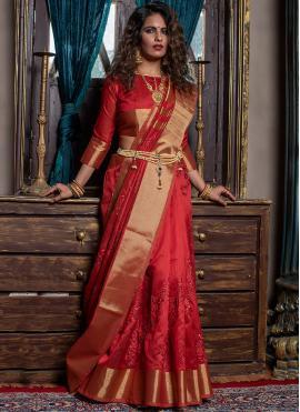 Glossy Red Designer Traditional Saree