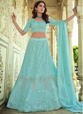 Glossy Thread Blue Lehenga Choli