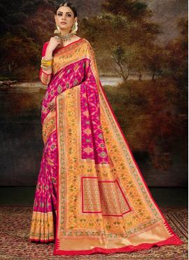 Glossy Weaving Banarasi Silk Magenta Silk Saree
