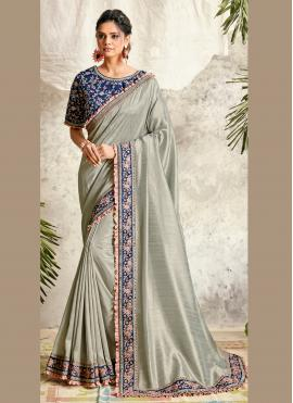 Glowing Grey Designer Traditional Saree
