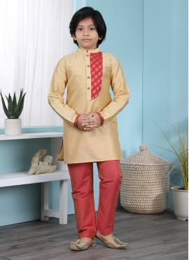 Gold Cotton Silk Kurta Pyjama