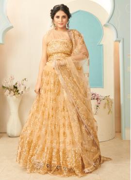 Gold Engagement Net Lehenga Choli