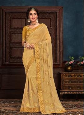 Gold Silk Contemporary Saree