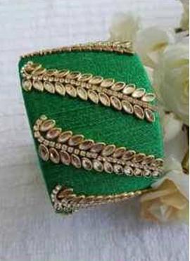 Gorgeous Stone Work Silk Thread Green Colour Bangle