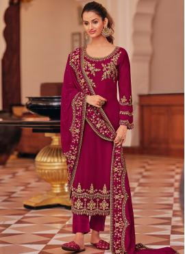 Gorgonize Maroon Embroidered Pant Style Suit