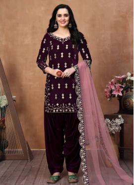 Gorgonize Purple Resham Velvet Designer Patila Salwar Suit