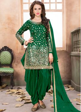 Gorgonize Tafeta Silk Green Patiala Salwar Kameez