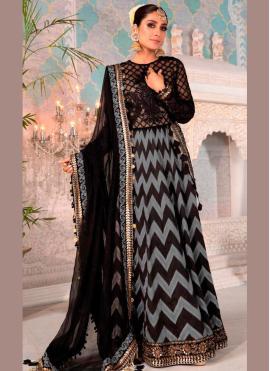 Graceful Embroidered Black Net Floor Length Anarkali Suit