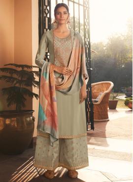 Graceful Grey Embroidered Designer Pakistani Suit