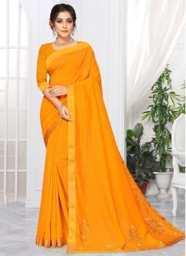 Graceful Lace Yellow Classic Saree