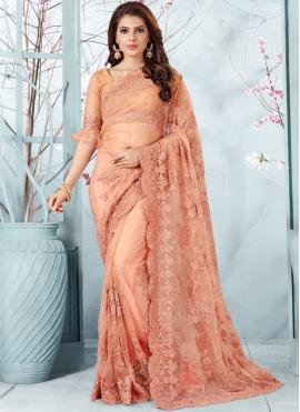Graceful Peach Party Traditional Designer Saree