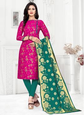 Grandiose Banarasi Silk Churidar Designer Suit