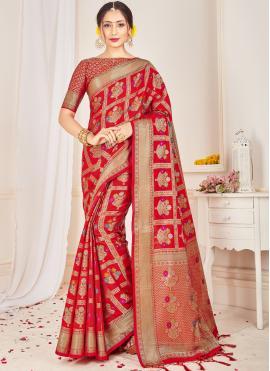 Grandiose Red Weaving Art Silk Classic Saree