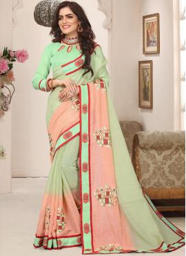 Grandiose Resham Cotton Silk Sea Green Trendy Saree