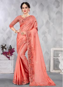 Grandiose Satin Sequins Pink Designer Saree