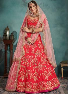 Grandiose Sequins Red Art Silk Trendy Designer Lehenga Choli