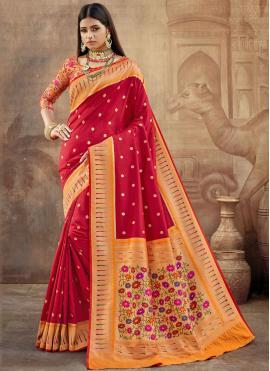 Grandiose Weaving Maroon Contemporary Saree