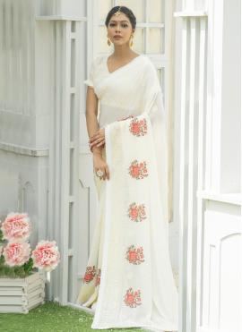 Gratifying Embroidered Silk Off White Designer Traditional Saree