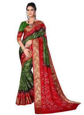 Green and Maroon Art Silk Festival Designer Traditional Saree