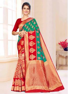 Green and Red Weaving Banarasi Silk Contemporary Saree