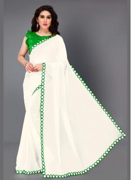 Green and White Mirror Bollywood Saree