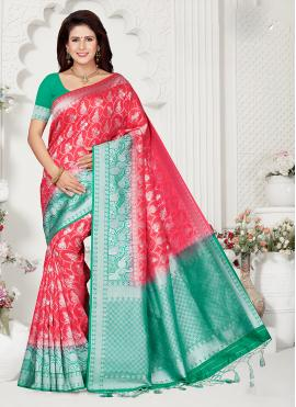 Green Art Raw Silk Ceremonial Designer Traditional Saree