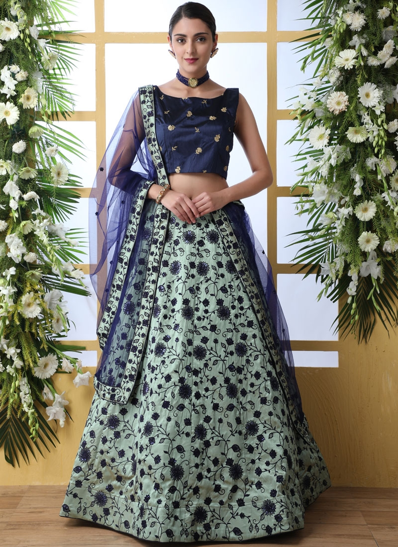 Green Art Silk Designer Lehenga Choli