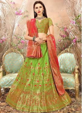 Green Art Silk Weaving Lehenga Choli