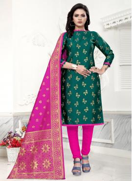 Green Banarasi Silk Weaving Churidar Salwar Suit