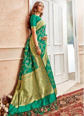Green Banarasi Silk Weaving Contemporary Style Saree