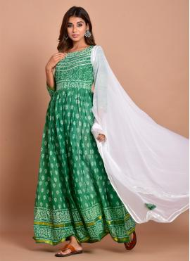 Green Block Print Cotton Readymade Designer Gown